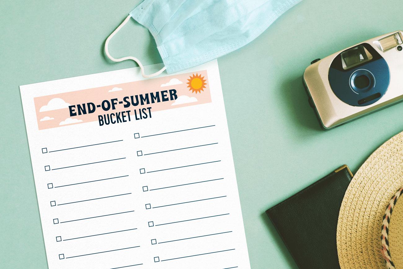 end of summer bucket list printable
