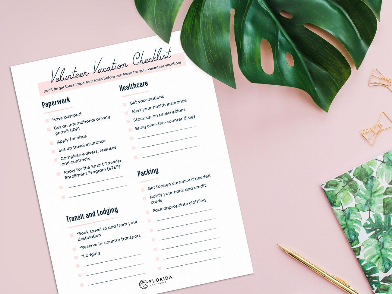 volunteer vacation checklist preview