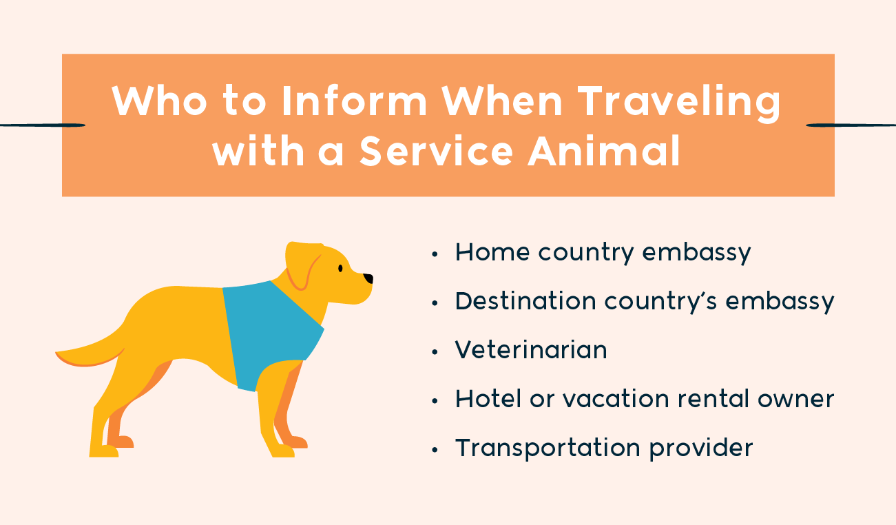 who to inform when traveling with a service animal