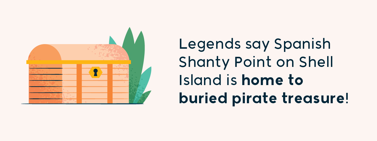 legends say spanish shanty point on shell island is home to buried pirate treasure