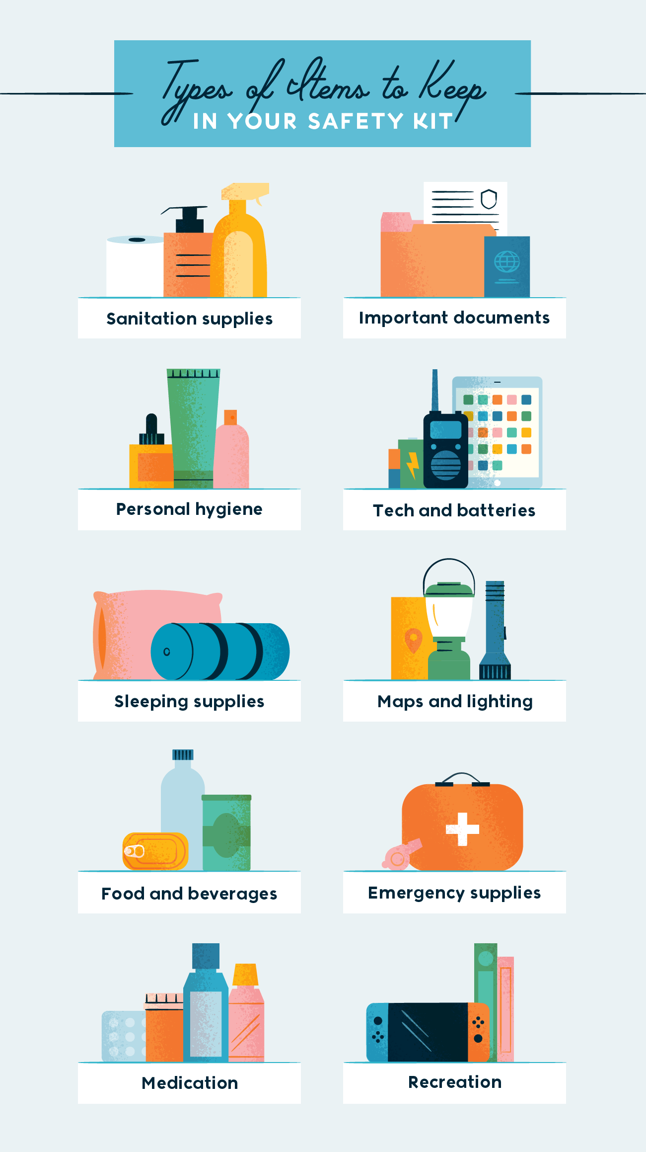 types of items to keep in your safety kit