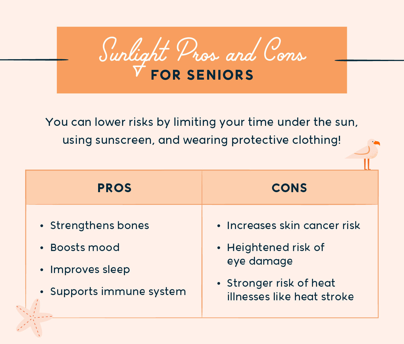 sunlight pros and cons for seniors